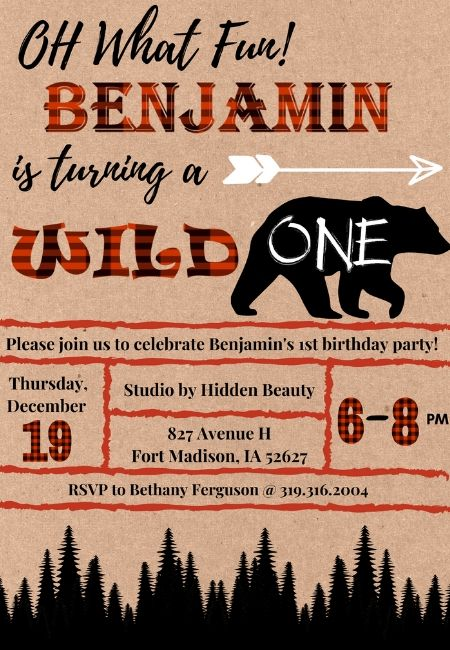 wild one birthday party invitations