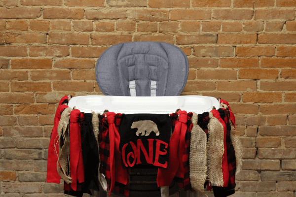 lumberjack wild one highchair birthday banner