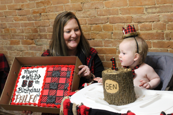 Lumberjack sheet cake birthday party